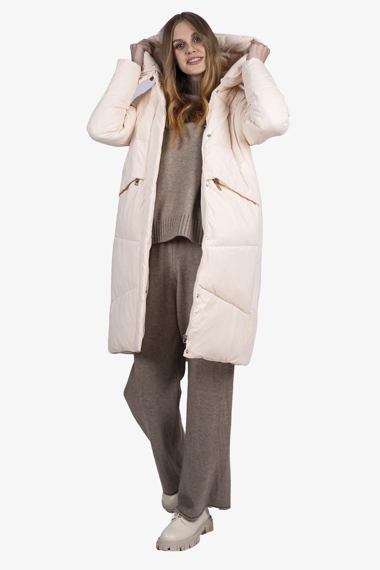 Пальто женское D300-0921 `Zheno` молочный